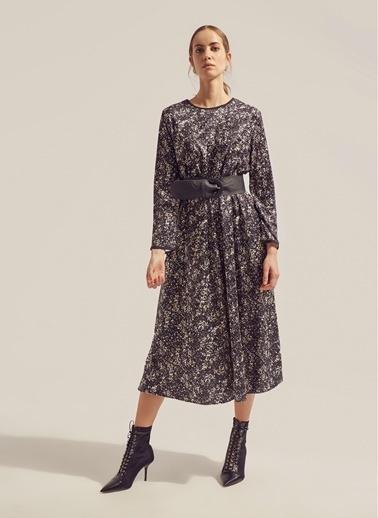 Monamoda Baskılı Kadife Elbise Siyah